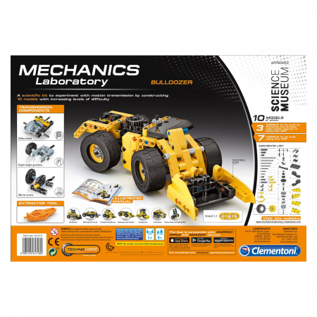 Set constructie Clementoni, 10 in 1, Laboratorul de mecanica - Buldozer, 200 piese, pentru copii de peste 8 ani [1]