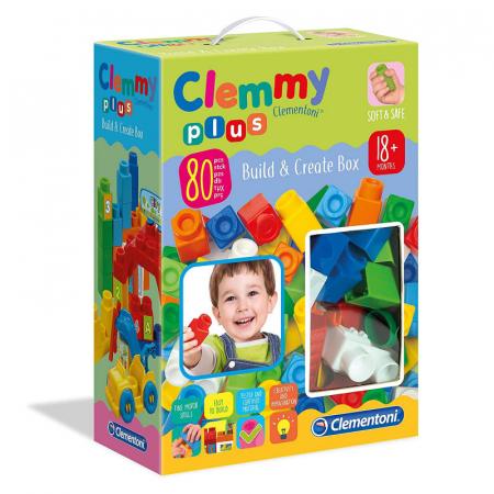 """Set constructie creativ, Clementoni (Italia), """"Clemmy Plus"""", 80 cuburi soft, pentru copii de peste 18 luni [0]"""
