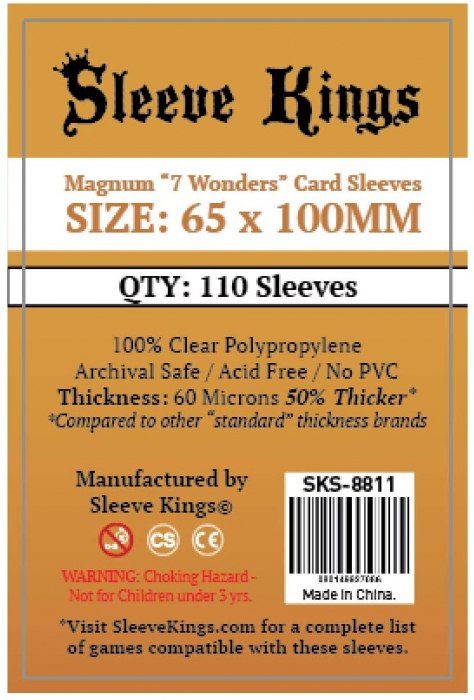 Set 110 Magnum 7 Wonders Card Sleeves 65 x 100 mm 0