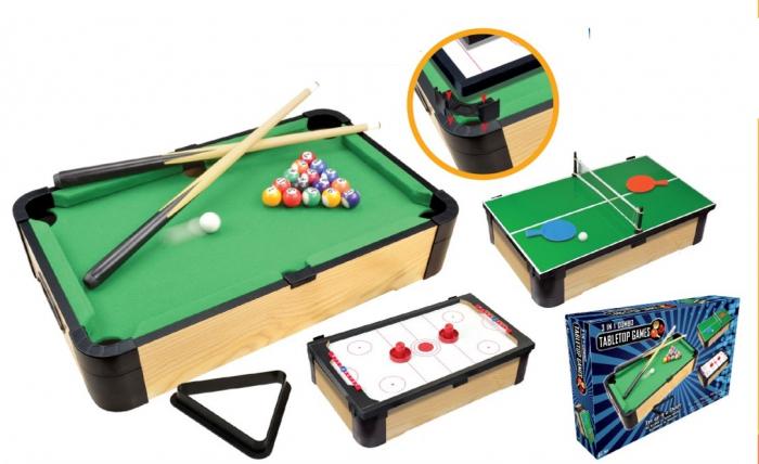 Joc de birou 3 in 1 din lemn V1 biliard ping-pong hockey [2]