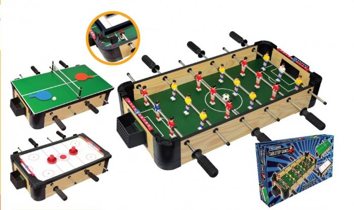 Joc de birou 3 in 1 din lemn v2 foosball ping-pong slide hockey 1