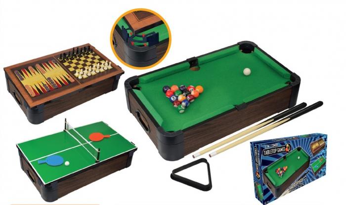 Joc de birou 5 in 1 din lemn V2 - biliard ping-pong sah table dame 3