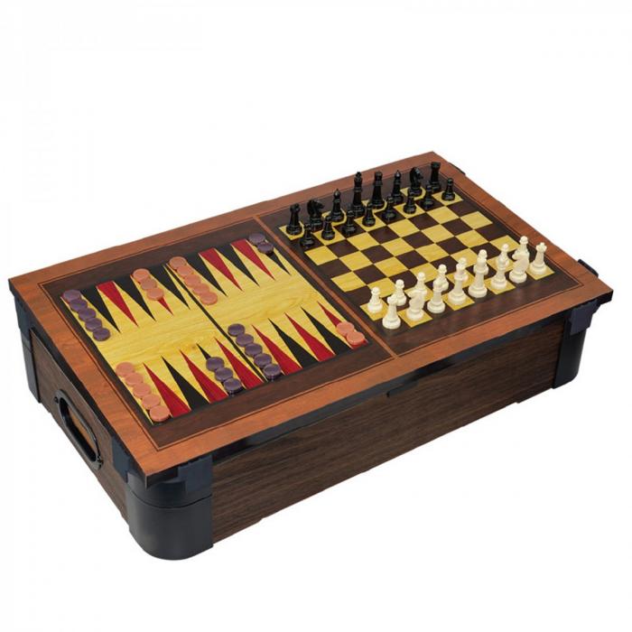 Joc de birou 5 in 1 din lemn V2 - biliard ping-pong sah table dame 2