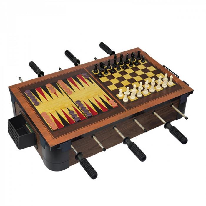 Joc de birou 5 in 1 din lemn V3 - foosball ping-pong sah dame table 1 2