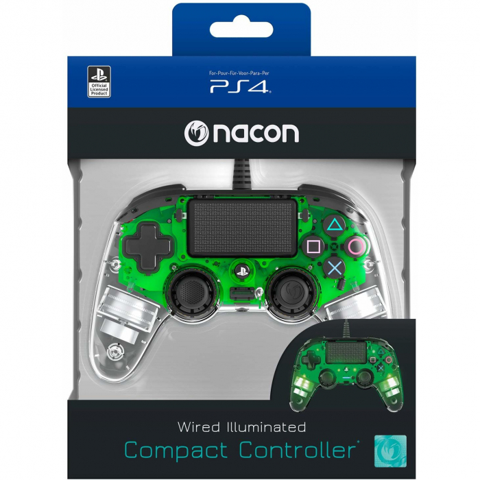 Controller Nacon Wired Illuminated Compact Light Edition Green Ps4 2