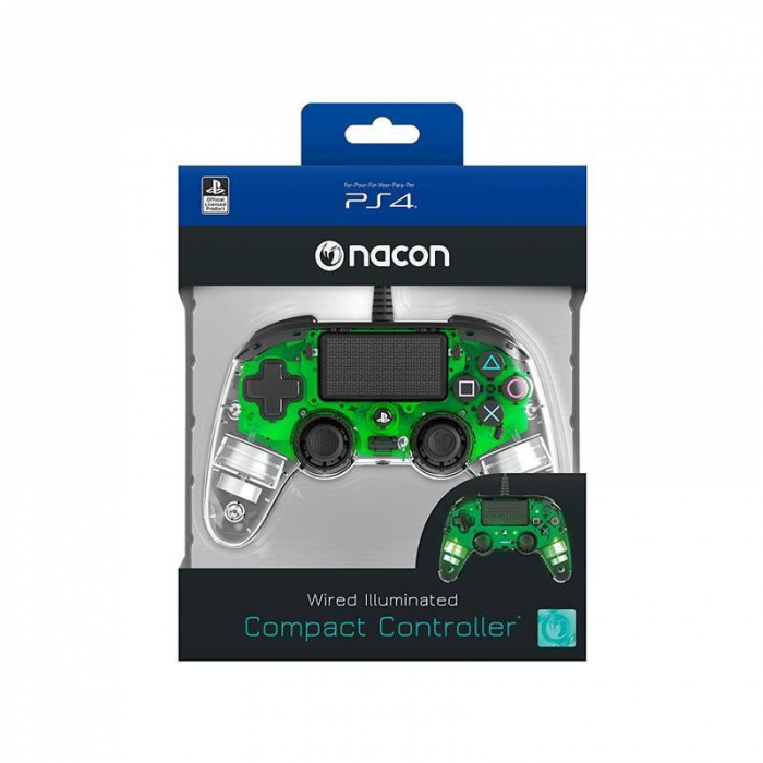 Controller Nacon Wired Illuminated Compact Light Edition Green Ps4 1