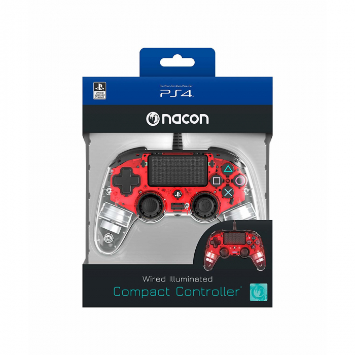 Controller Nacon Wired Illuminated Compact Light Edition Red Ps4 1