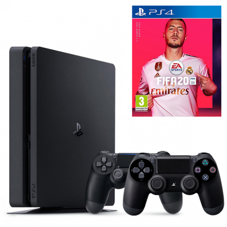 Consola PlayStation 4 Slim 500 GB Black + FIFA 20 + Gamepad DualShock 4 Wireless V20