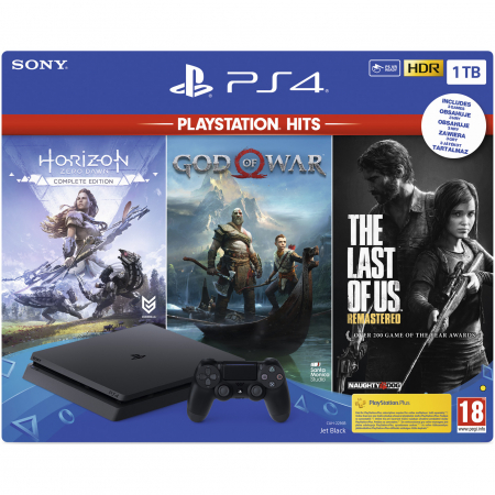 Consola SONY Playstation 4 Slim, 1TB, Jet Black + God of War HITS + Horizon Zero Dawn Complete Edition HITS + The Last of Us Remastered HITS0
