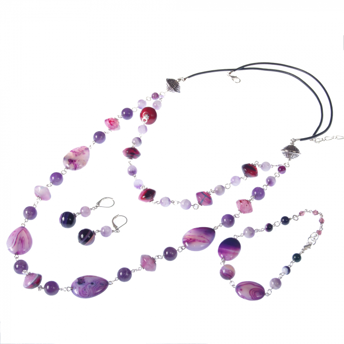 0249(A) Set bijuterii Ganelli Colier lung, bratara, cercei din pietre semipretioase Agate si Ametist 0
