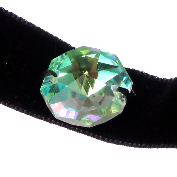 Ck01-L -Colier Choker GANELLI Cristal octogon 24 mm Swarovski si catifea neagra [2]