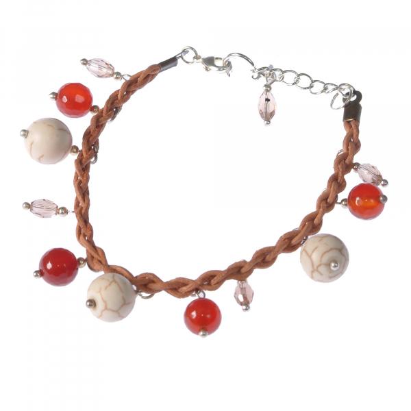 L02(M)-Bratara GANELLI handmade piele impletita si pietre semipretioase: Agate, Howlit, Cristal 0