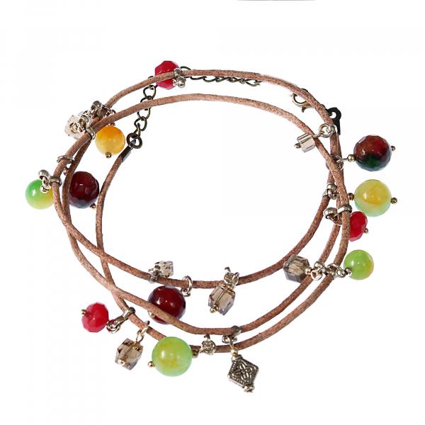L01(A) rainbow- Bratara Ganelli multifunctionala pentru mana, glezna, colier, piele si pietre semipretioase Jad Rainbow, Jad lemon, Jad rosu [0]