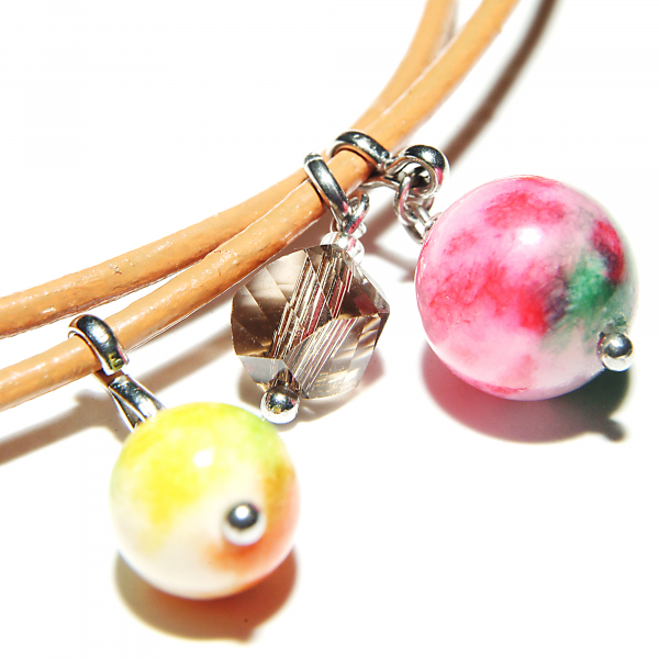 L01(A) melon-Bratara Ganelli multifunctionala pentru mana, glezna, colier, piele naturala si pietre semipretioase Jad Rainbow, Jad rosu, Jad melon 5