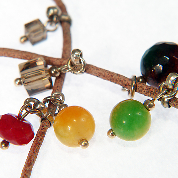 L01(A) rainbow- Bratara Ganelli multifunctionala pentru mana, glezna, colier, piele si pietre semipretioase Jad Rainbow, Jad lemon, Jad rosu [4]
