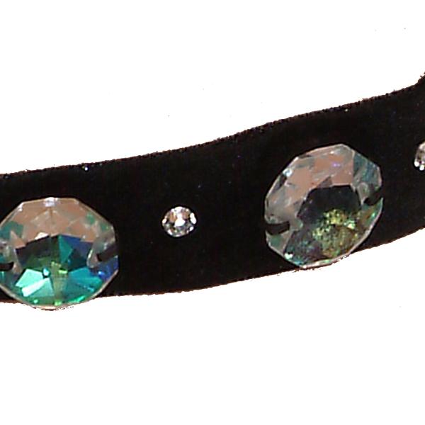 Ck02 negru-Colier Ganelli choker din catifea si Cristale Swarovski elements 3 Cristale Octogon 18 mm si 4 cristale mici 2