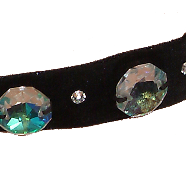 Ck02 albastru-Colier Ganelli choker din catifea si Cristale Swarovski elements 3 Cristale Octogon 18 mm si 4 cristale mici [2]
