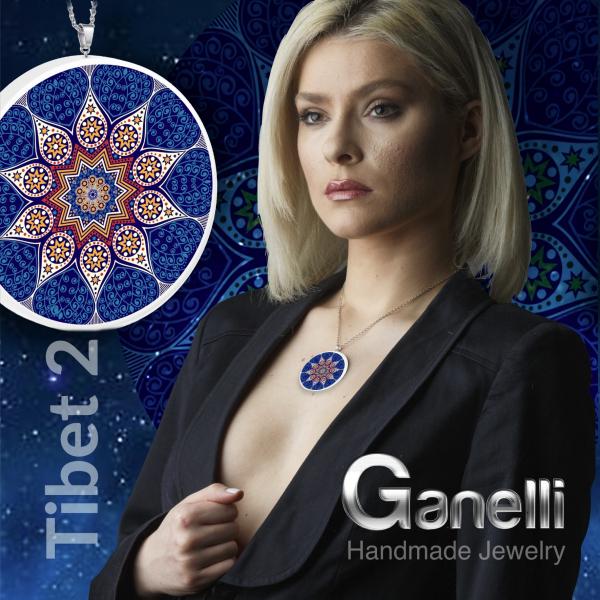 PM02(A)-Pandantiv Ganelli Mandale Tibet -model 2(albastru) 4