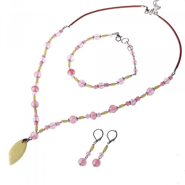 0262 Set bijuterii GANELLI - colier cu pandantivt, bratara si cercei din pietre semipretioase Jad Serpentin și Cuarț cherry 0