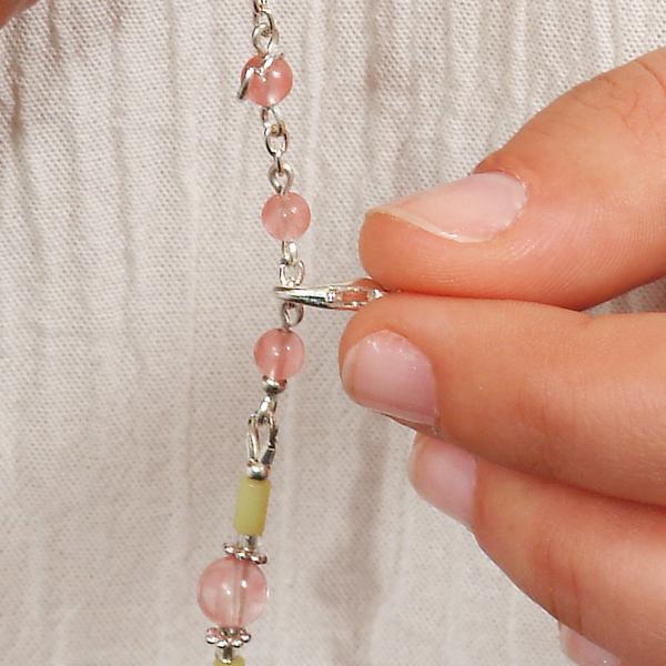 0262 Set bijuterii GANELLI - colier cu pandantivt, bratara si cercei din pietre semipretioase Jad Serpentin și Cuarț cherry 2