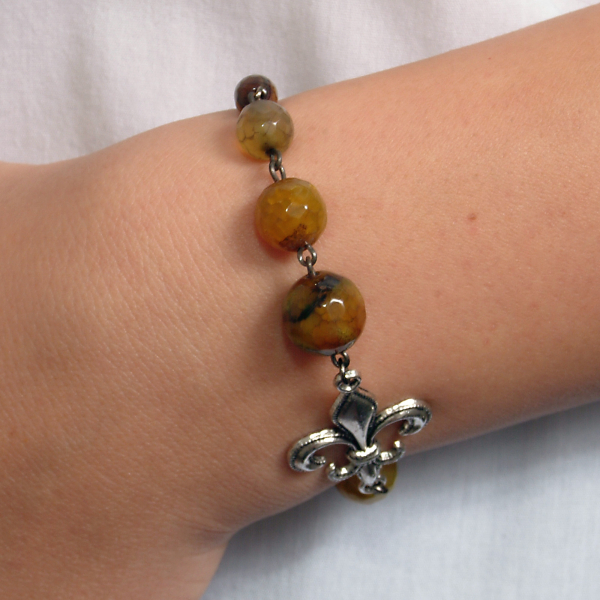 0183(E) Set bijuterii GANELLI- colier lung, bratara, cercei din pietre semipretioase Piatra Dragonului 1