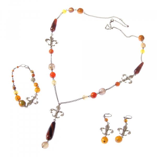 0183(E) Set bijuterii GANELLI- colier lung, bratara, cercei din pietre semipretioase Piatra Dragonului 0