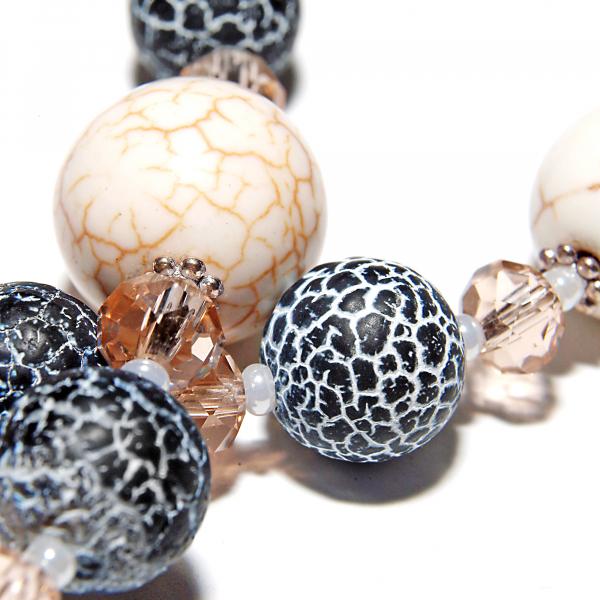 0107(C) Set bijuterii GANELLI pietre semipretioase Howlite, Agate Crackle - colier lung, bratara, cercei 5