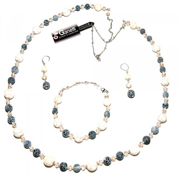 0107(C) Set bijuterii GANELLI pietre semipretioase Howlite, Agate Crackle - colier lung, bratara, cercei 0