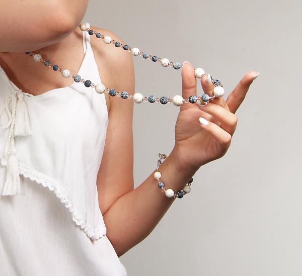 0107(C) Set bijuterii GANELLI pietre semipretioase Howlite, Agate Crackle - colier lung, bratara, cercei 2