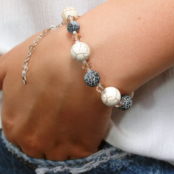 0107(C) Set bijuterii GANELLI pietre semipretioase Howlite, Agate Crackle - colier lung, bratara, cercei 3