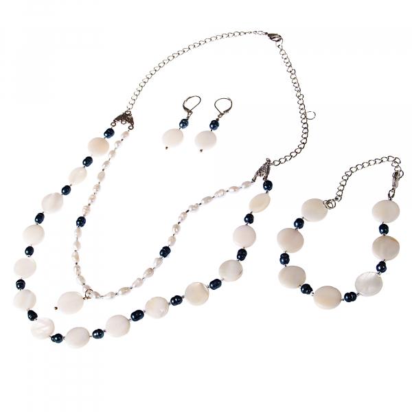 0206 Set bijuterii GANELLI- colier, bratara, cercei din pietre semipretioase Sidef si Perle naturale de cultura 0