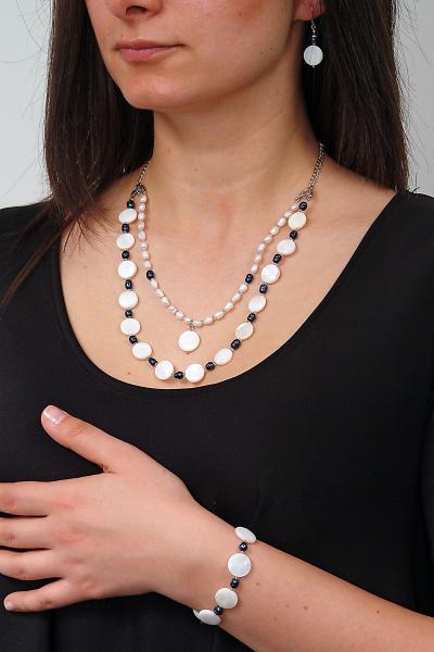 0206 Set bijuterii GANELLI- colier, bratara, cercei din pietre semipretioase Sidef si Perle naturale de cultura 3