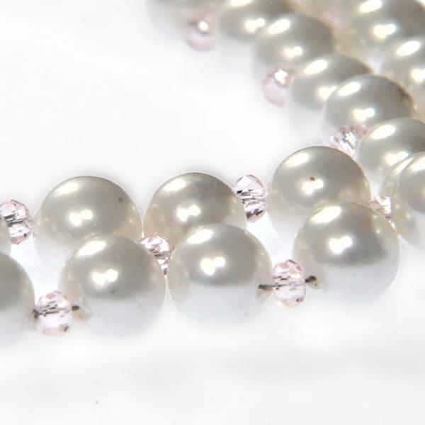 0300(A) Set bijuterii GANELLI Statement handmade - Colier in V si Cercei Chandelier din Perle Mallorca 2