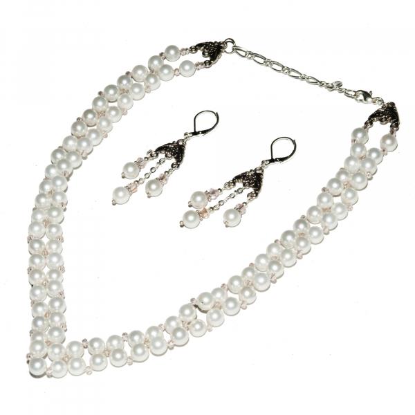 0300(A) Set bijuterii GANELLI Statement handmade - Colier in V si Cercei Chandelier din Perle Mallorca 0