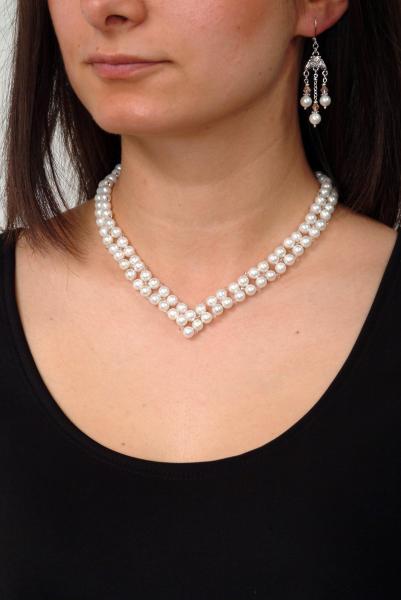 0300(A) Set bijuterii GANELLI Statement handmade - Colier in V si Cercei Chandelier din Perle Mallorca 4