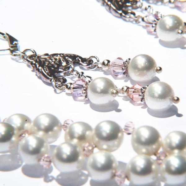 0300(A) Set bijuterii GANELLI Statement handmade - Colier in V si Cercei Chandelier din Perle Mallorca 3