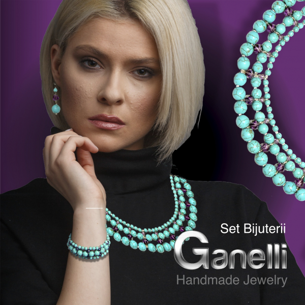 0299(A) Set bijuterii GANELLI -colier Statement 3 randuri, bratara 3 randuri, cercei, Turcoaz, Cristal helix [7]