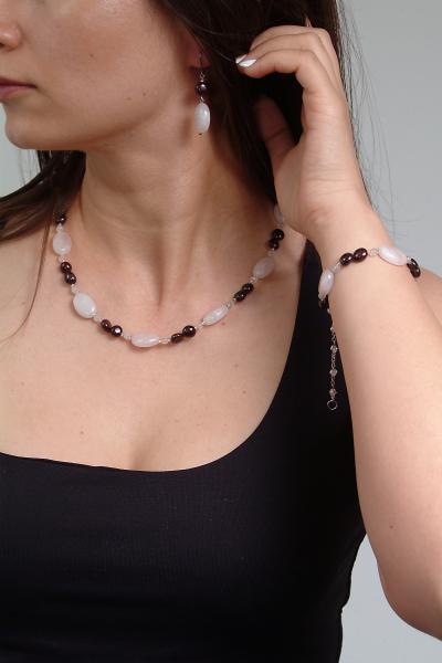 0258(A) Set bijuterii GANELLI din pietre semipretioase Cuart roz, Granat - colier, bratara, cercei 6