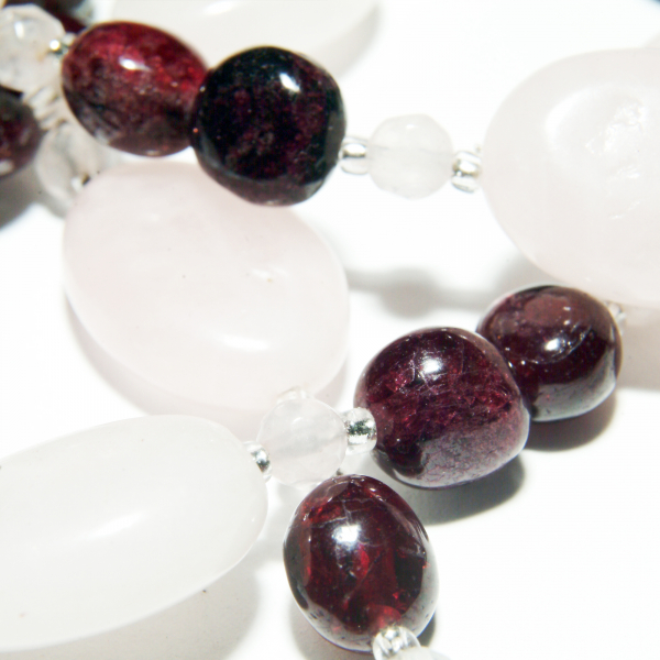 0258(A) Set bijuterii GANELLI din pietre semipretioase Cuart roz, Granat - colier, bratara, cercei 4
