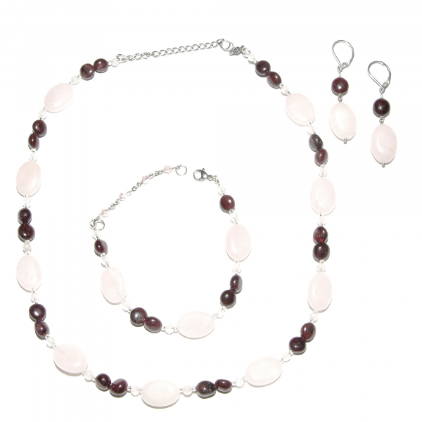 0258(A) Set bijuterii GANELLI din pietre semipretioase Cuart roz, Granat - colier, bratara, cercei 0
