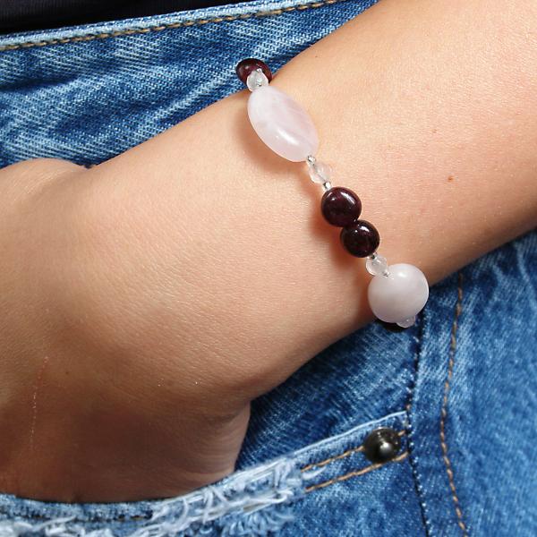 0258(A) Set bijuterii GANELLI din pietre semipretioase Cuart roz, Granat - colier, bratara, cercei 2