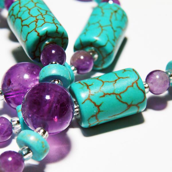 0131(A) Set bijuterii GANELLI din pietre semipretioase Ametist si Turcoaz - colier, bratara, cercei 4