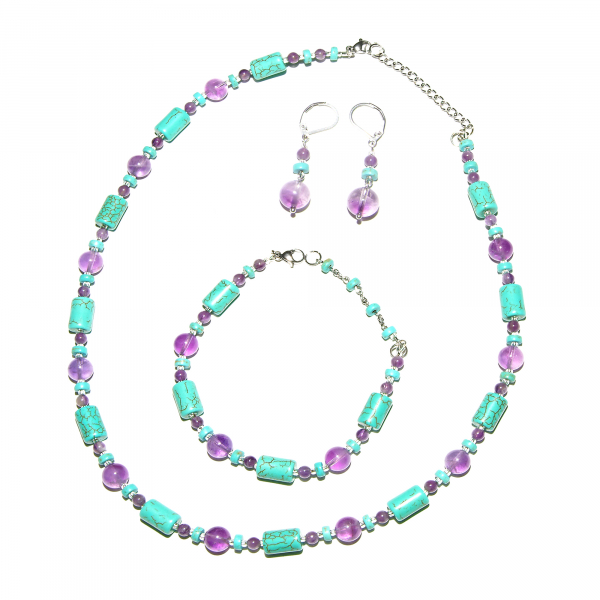 0131(A) Set bijuterii GANELLI din pietre semipretioase Ametist si Turcoaz - colier, bratara, cercei 0