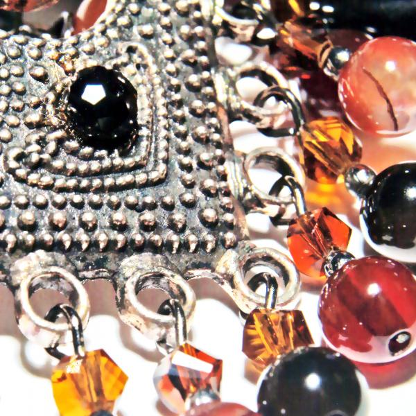 0213(D) Set bijuterii GANELLI - colier cu pandantiv statement, bratara si cercei din pietre semipretioase Agate Eye 4