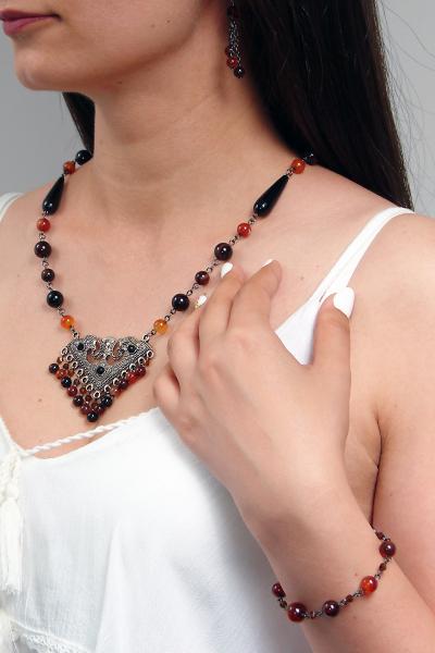 0213(D) Set bijuterii GANELLI - colier cu pandantiv statement, bratara si cercei din pietre semipretioase Agate Eye 6