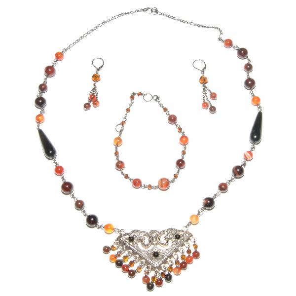 0213(D) Set bijuterii GANELLI - colier cu pandantiv statement, bratara si cercei din pietre semipretioase Agate Eye 0