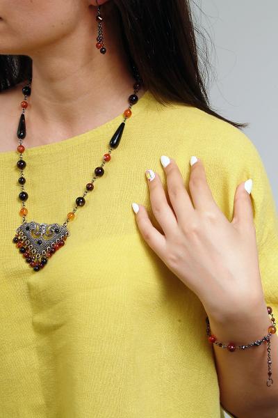 0213(D) Set bijuterii GANELLI - colier cu pandantiv statement, bratara si cercei din pietre semipretioase Agate Eye 5