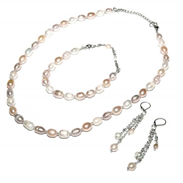 0123(C) Set bijuterii GANELLI Perle naturale de cultura -colier, bratara, cercei 0