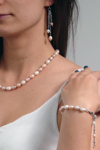0123(C) Set bijuterii GANELLI Perle naturale de cultura -colier, bratara, cercei 7