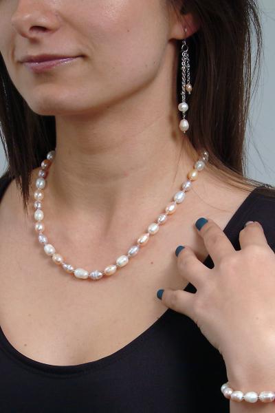 0123(C) Set bijuterii GANELLI Perle naturale de cultura -colier, bratara, cercei 6